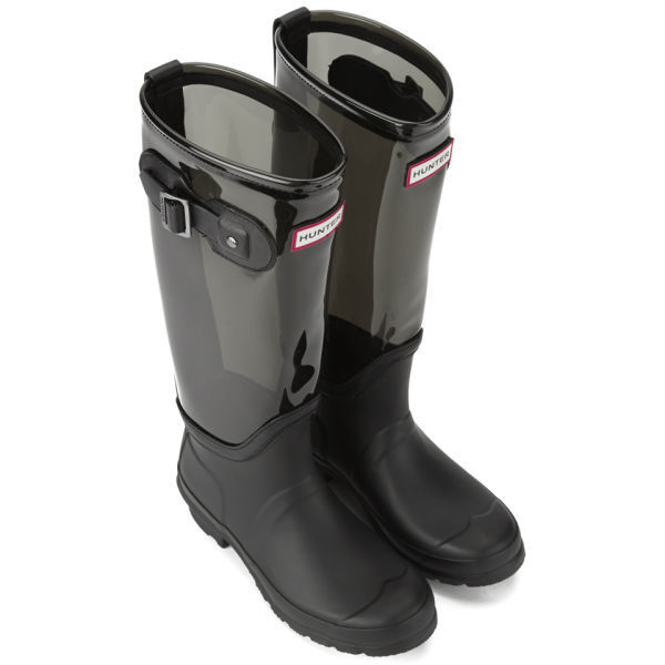 authentic quality cheap for discount lowest price Hunter Black Slate Tall Original Clear Leg Nylon Wellies Winter Boots UK  3,4,5,6