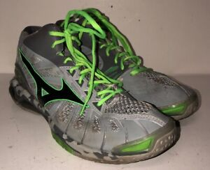 Mizuno-Wave-Tornado-X-Mens-Gray-Green-Lace-Up-Athletic-Shoes-Size-12-5