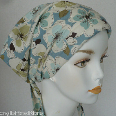 Blue Floral Cancer Hat Turban Chemo Hair Headwrap Bad Hair Day Alopecia Scarf