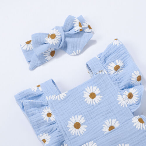 Infant Baby Girls Summer Clothes Set Floral Romper+Headband Casual Cool Clothing