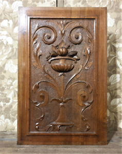 Scroll-leaves-wood-carving-panel-Antique-french-gothic-architectural-salvage