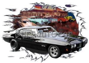 1970 Hot Gto Car B T Pontiac Shirt Nero Diner Rod Tees 70 Muscle Custom qrAxR4qn