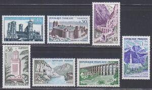 France-1960-MNH-Mi-1283-1289-Sc-943-949-Architecture-tourist-039-s-set