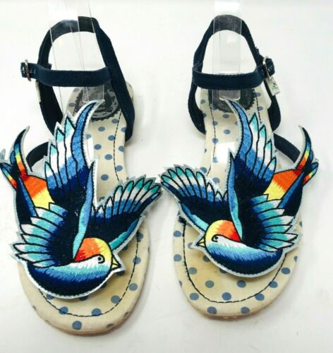 Miss L Fire Bird SAndals Blue Size 38 Strappy Vint