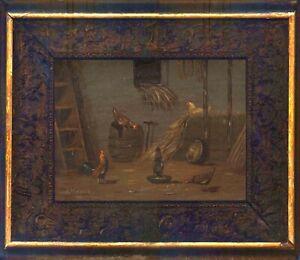 Belgien 19. Jh. Öl auf Tafel 24,5 x 16,5 cm Unterzeichnet Rahmen 36x29 cm