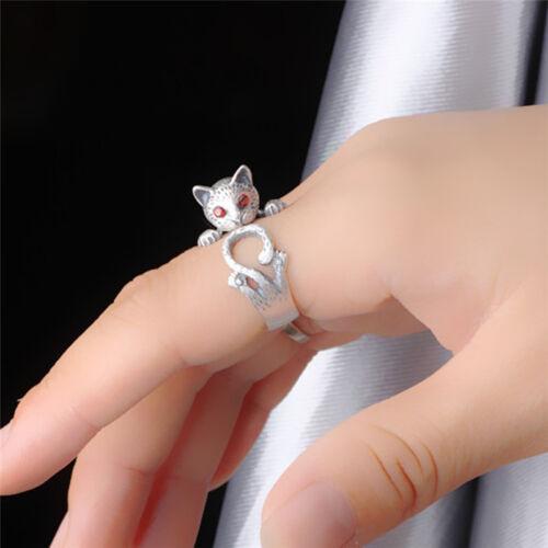 ZF Frauen Boho Vintage Rewelry Kitty Katze Ring Tier Zubehör verstellbarer Knö
