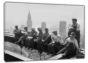 Amical 1900s Construction Workers Take A Break Wall Art Print On Frame Canvas Wall Art