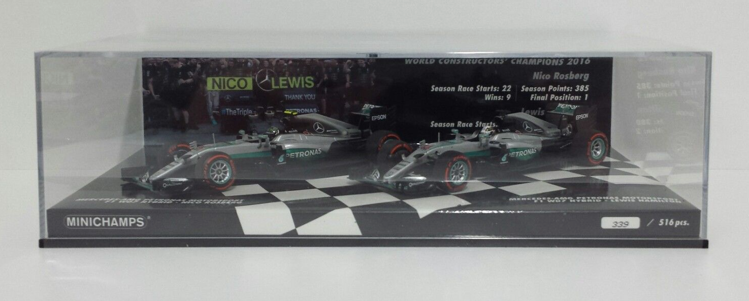 MINICHAMPS 1 43 SET MERCEDES W07 COSTRUCTOR WORLD CHAMPION 2016 ROSBERG HAMILTON