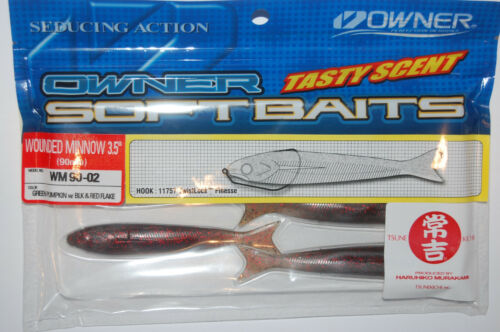 """owner wounded minnow 3.5/"""" side swim or twitch bait green pumpkin black red flake"""