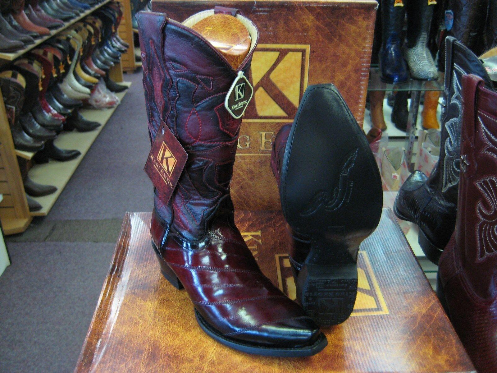 King EXOTIC Borgoña SNIP Toe Original Bota de vaquero occidental Anguila 94DRD0843