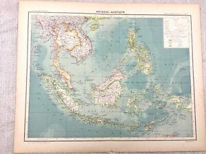 1894 Antik Map Of Die Philippinen Java Sumatra Original 19th Century Französisch