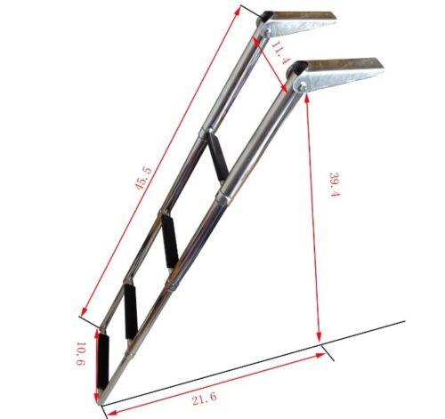 Useful 4 Step Telescoping Stainless Steel Marine Boat /&Yacht Ladder Swim Step