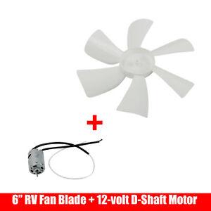 6 Rv Roof Bathroom Air Vent Fan 6 Blade White With 12v Motor Mobile Home Ebay