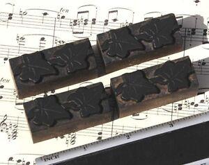 4x ivy wood letterpress ornaments wooden printing block type art nouveau antique