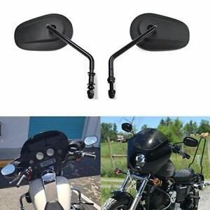 Black Motorcycle Rear View Mirrors For Harley Davidson Fatboy Softail Dyna V Rod Ebay