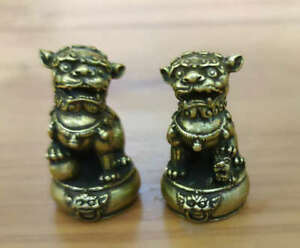 4.7CM Collect China Bronze Fengshui Animal Foo Fu Dog Guardion Lion Pair Statue