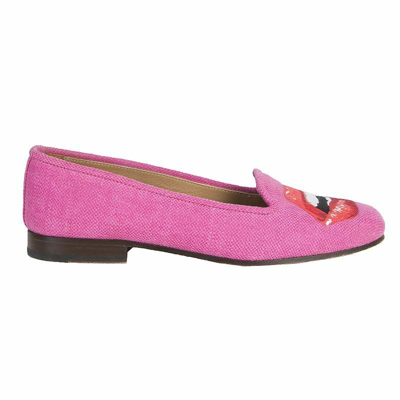 53552 auth STUBBS & WOOTTON pink canvas LIPS Moccasins Moccasins LIPS Loafers Flats Shoes 7 0f0e11
