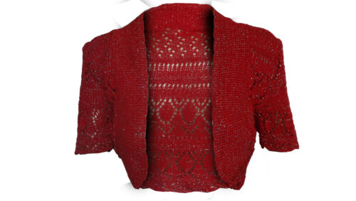 Ragazze Coprispalle Bolero Cardigan Glitter Lurex Kids Crochet Lavorato A Maglia Taglia 2-13 anni