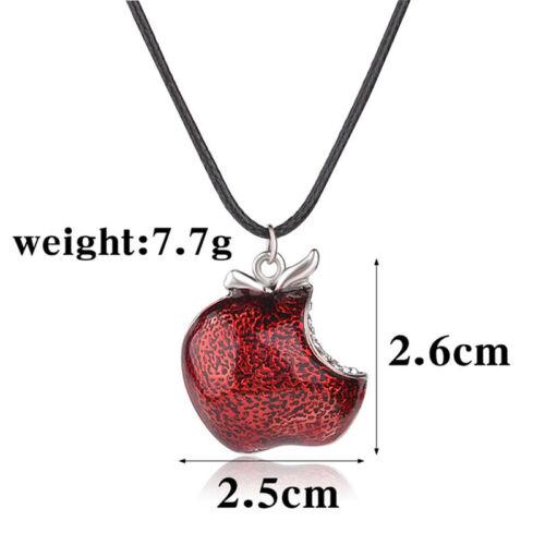 Regina Mill poison pomme rouge une fois sur un pendentif collier temps