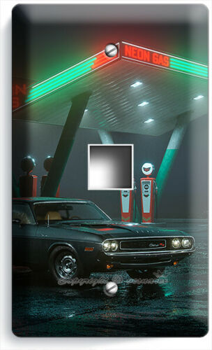 RETRO 50/'S GAS STATION SPORTS CAR NEON LIGHT SWITCH OUTLET WALL PLATE GARAGE ART