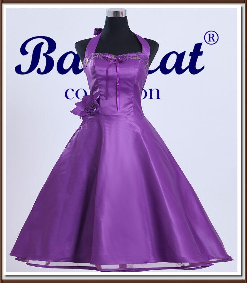 50er Años Vestido De Danza Vintage Enaguas cóctel purple Inmediatamente C716