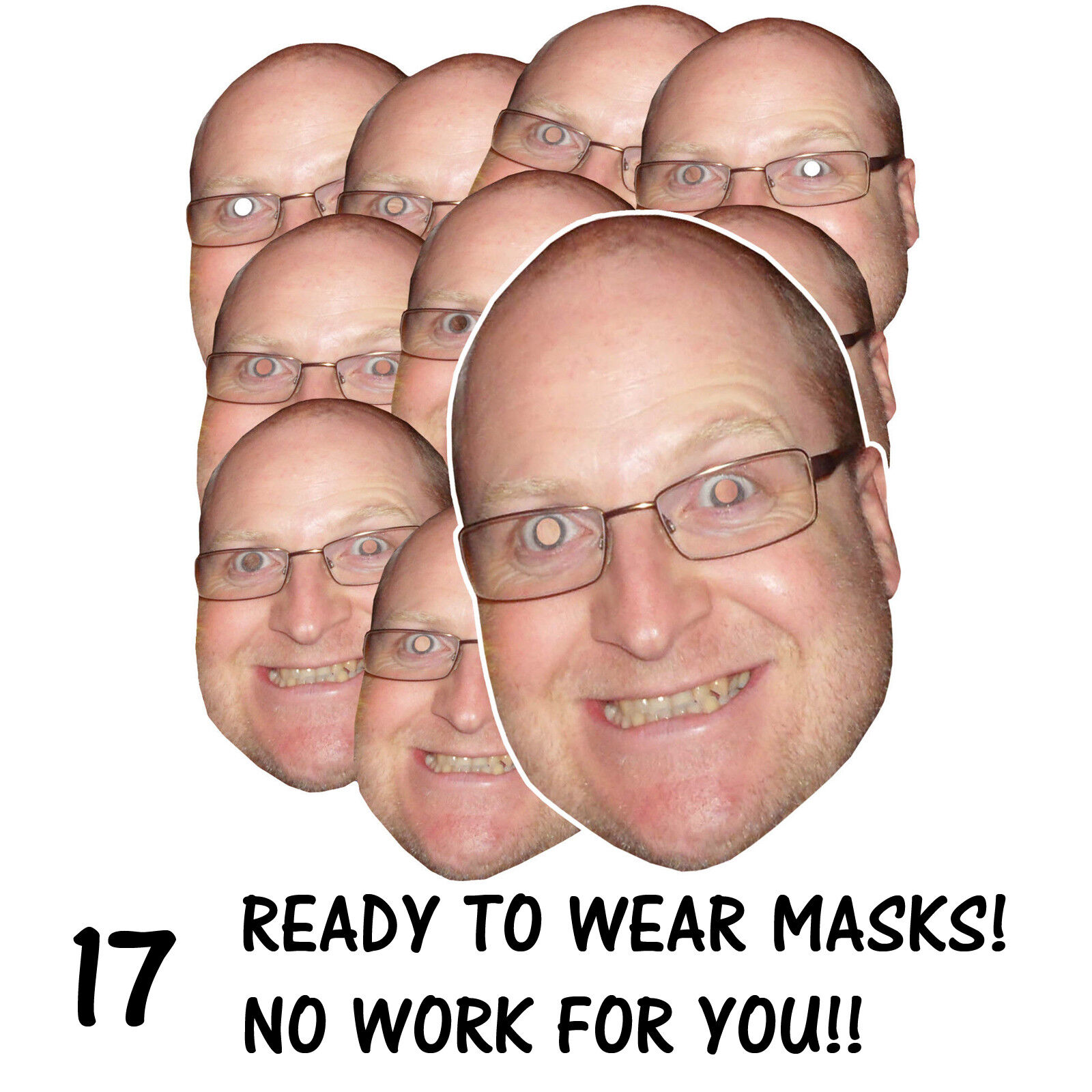 17 x PERSONALISED FUN FACE MASKS - STAG HEN PARTY - SEND US YOUR PIC - FREE P&P