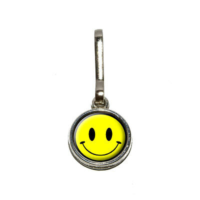 Smile Smiley Face - Antiqued Charm Clothes Purse Luggage Backpack Zipper Pull