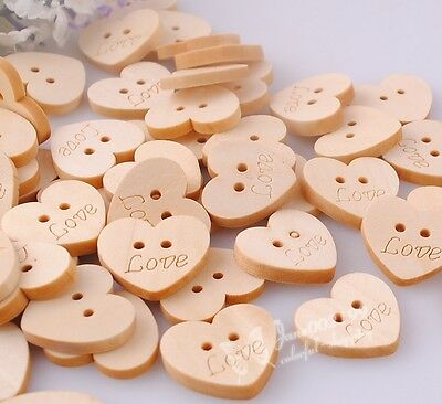 50/100/500x Upick Love Heart Wood Buttons Sewing appliques Kid's DIY Lots NK050