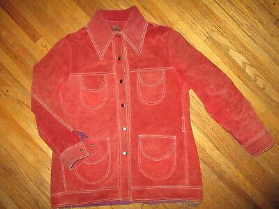 Aggressivo Vintage Camoscio Giacca A Scatto Pypsa Contrasto Cuciture Color Ruggine Sconti