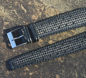 Black-rubber-20mm-Tropic-watch-band-type-perforated-1960s-70s-2-keepers-41-sold