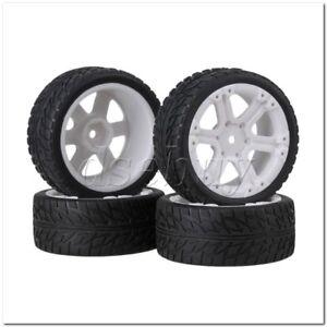 4x RC1:10 On Road Car Aluminium Blue 10 Spoke Wheel Rims Square Rubber Tyres