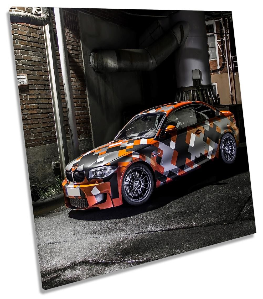 BMW Race Car Fast Framed CANVAS PRINT Square Wall Art