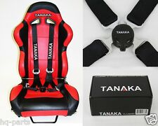 1 TANAKA UNIVERSAL BLACK 4 POINT CAMLOCK QUICK RELEASE RACING SEAT BELT HARNESS