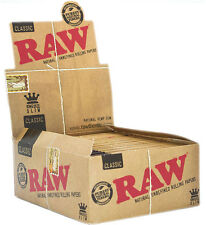 50 Packs Raw King Size Slim Rolling Papers Full Box Natural Smoking Rizla Skins