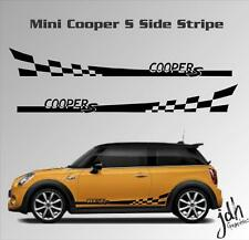 Mini Cooper Type S Checkered Flag Side Stripe Vinyl Decal Sticker Graphics Kit