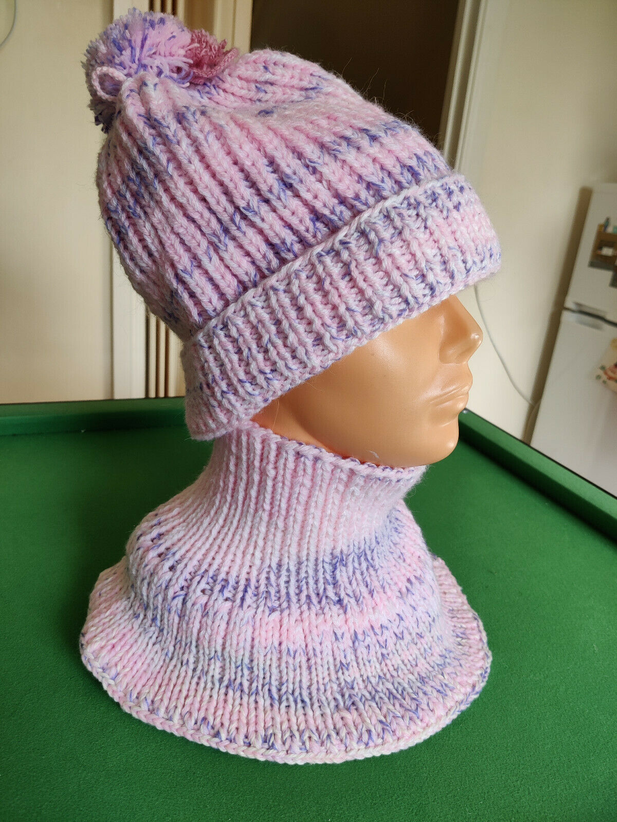 Handmade Knitted Beanie hat & Snood/ Scarf set Adult size Pink Lilac Pom Pom New