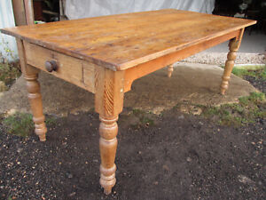 Details about Victorian pine 6ft kitchen table with 2 cutlery drawers. (556)