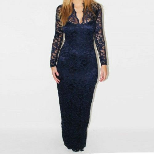 UK Women Maxi Lace V-Neck Bodycon Evening Party Long-Sleeve Dress Prom Plus Size