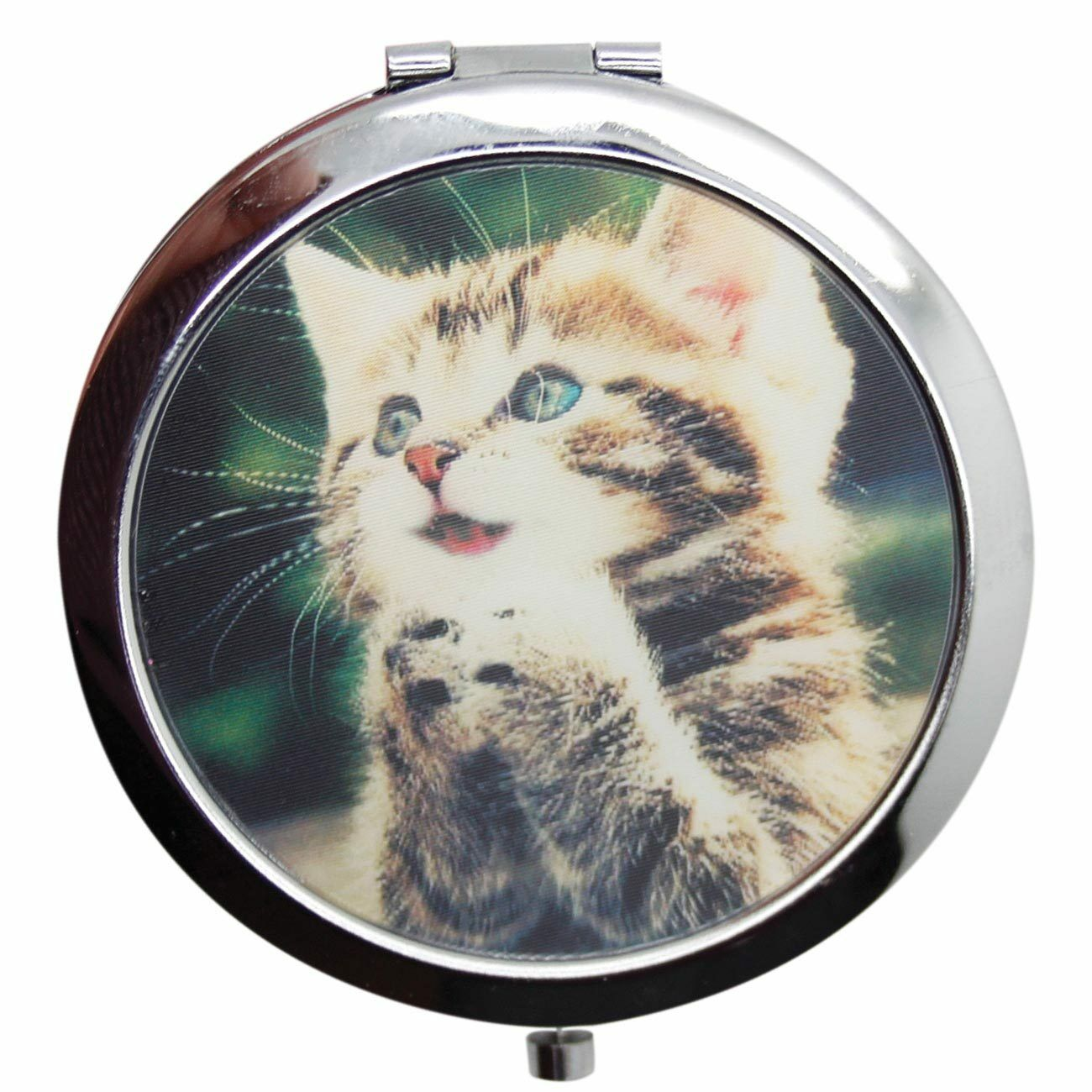 New Women Monament 3 D Cat Picture Pocket Flip Travel Make Up Handbag Mirror