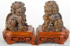 China 20 Jh A Pair Of Chinese Hardstone Figures Of Buddhist Lions Cinese Chinois