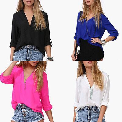 Sexy Fashion Women's Loose Chiffon V-Neck Tops Long Sleeve Shirt Casual Blouse