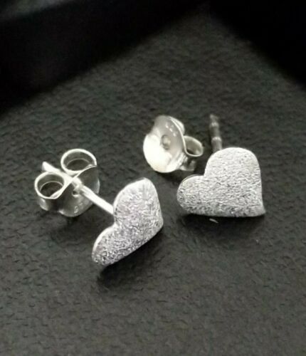 Real 925 Sterling Silver Small Heart Knot Stud Earrings 9mm UK Gift Box Star