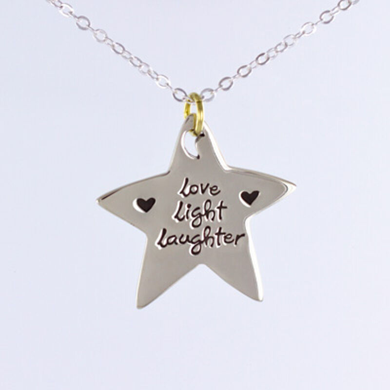 Image 01 - Far-Fetched-LOVE-LIGHT-LAUGHTER-Star-Pendant-NECKLACE-Adj-Chain-Box