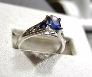 Kay Jewelers 10k White Gold High Profile Oval Blue Sapphire Ring 450 Ebay