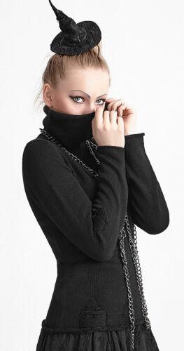 Gothique Fashion Punkrave Lolita Roulé Déchiré Punk Pull Destroy Col Mitaines AqxHdvw