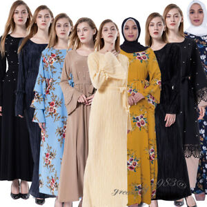 62bf2a86db508 Muslim Abaya Women Ladies Long Maxi Dress Islamic Arab Kaftan Dubai ...