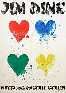 Four Hearts, 1971 Exhibition Poster on Arches Paper, Jim Dine - SIGNED