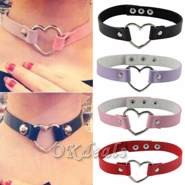 Punk CHIC Rivet Handmade Chain PU Leather O-Ring Heart Collar Choker Necklace