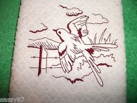 Fly Cather Bird Design Embroidered,dish Towel, Food Network W/ Hanging Tab