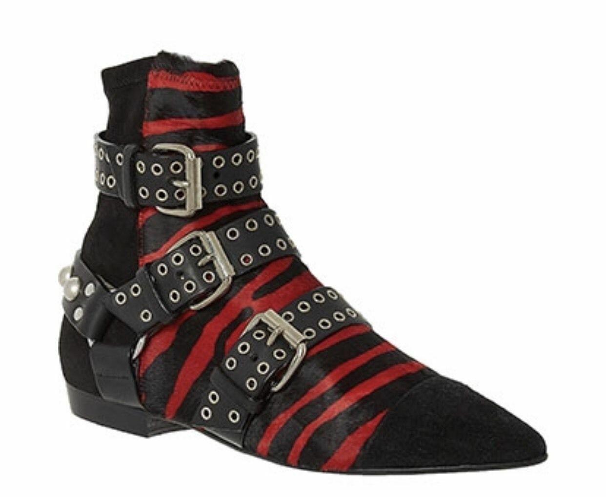 ISABEL MARANT Pony Skin Studded Straps Ankle Boots 40 UK 7    NEW
